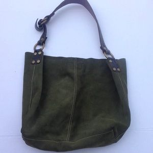 Lucky Brand Green Suede Leather Bucket  HandBag